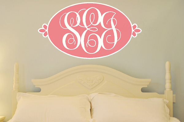 diy wall decals, wall decor, wall monogram, monogram decal