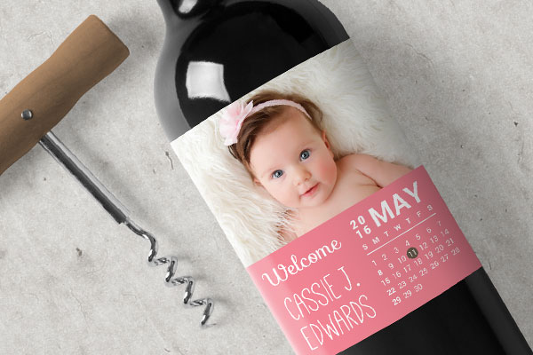 events, wine label, baby, invitation, birth announcement