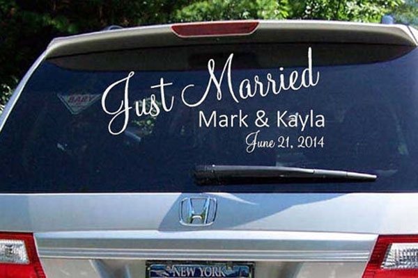 wedding decal, window sticker, car decal, vinyl sticker, vinyl lettering, just married decal