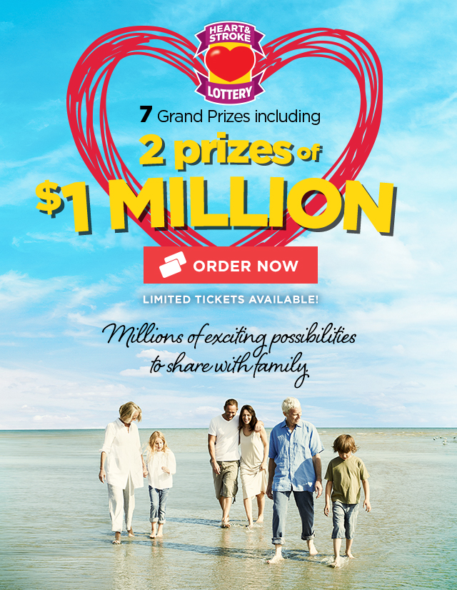 7 Grand Prizes including 2 PRIZES OF $1 MILLION